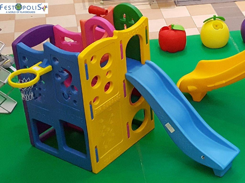 Gioco in plastica playcenter multicolor in polietilene costituito da passaggi, un tunnel, due scivoli. Ideale per aree gioco interne ed esterne.-2-FEGP 004 B