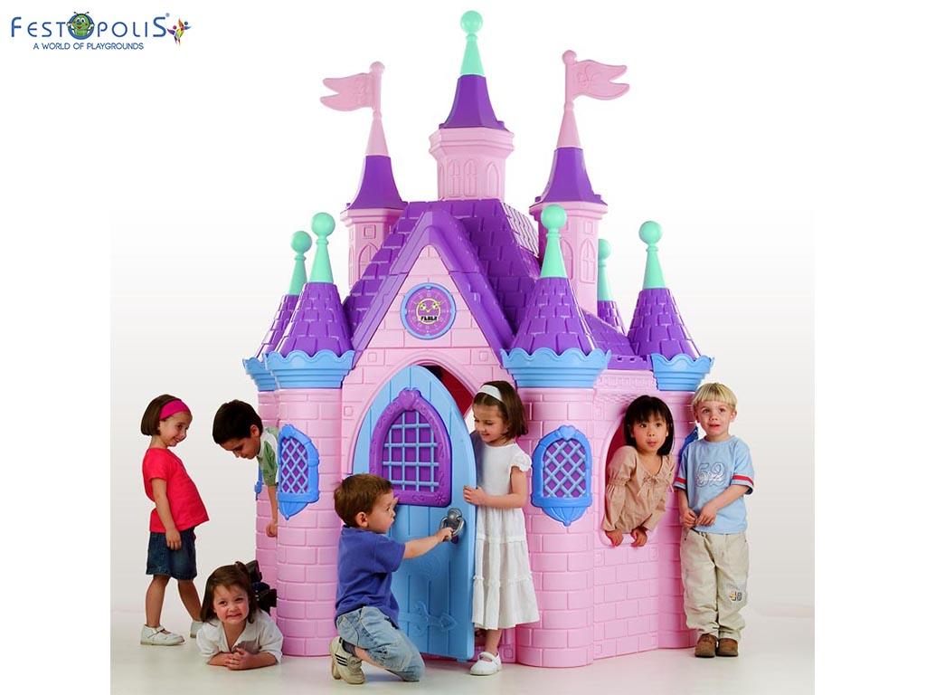 Super castello di Barbie colorato e divertente. Un vero castello delle principesse colorato e divertente ideale per aree gioco interne ed esterne.-2-FEGP 014
