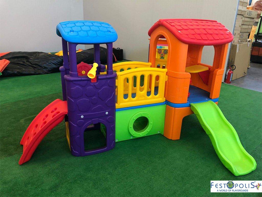 Gioco in plastica playcenter multicolor in polietilene costituito da due torrette collegate da un ponte, scivolo, mini arrampicata, tunnel.-1-FEGP 016B