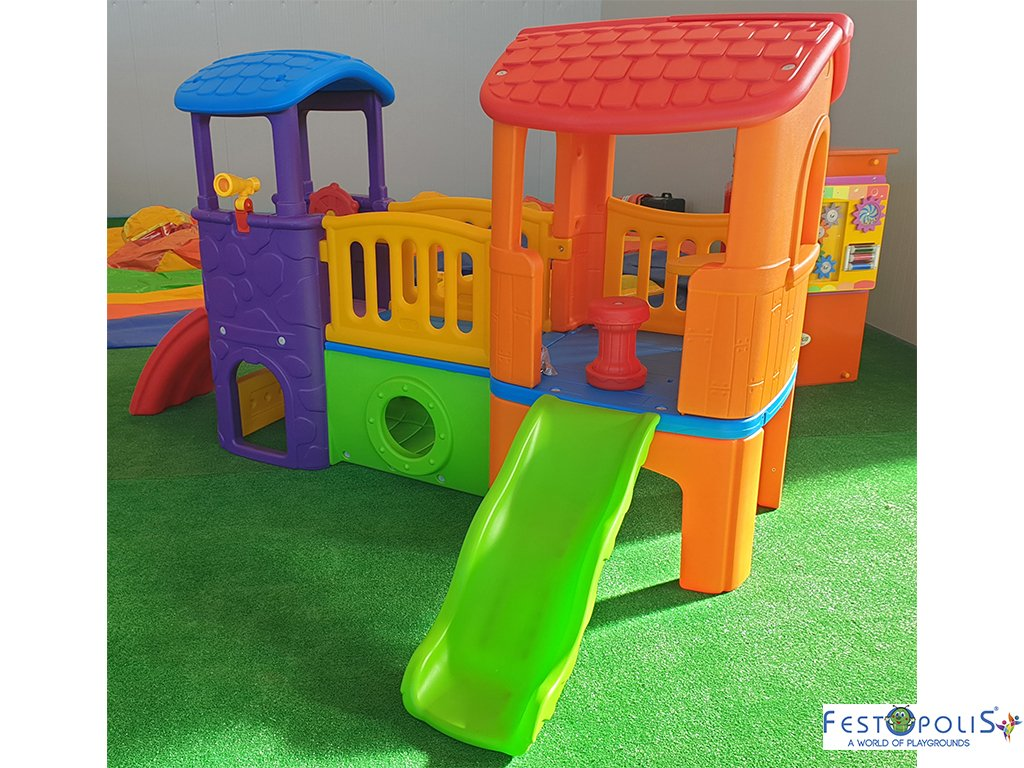 Gioco in plastica playcenter multicolor in polietilene costituito da due torrette collegate da un ponte, scivolo, mini arrampicata, tunnel.-2-FEGP 016B