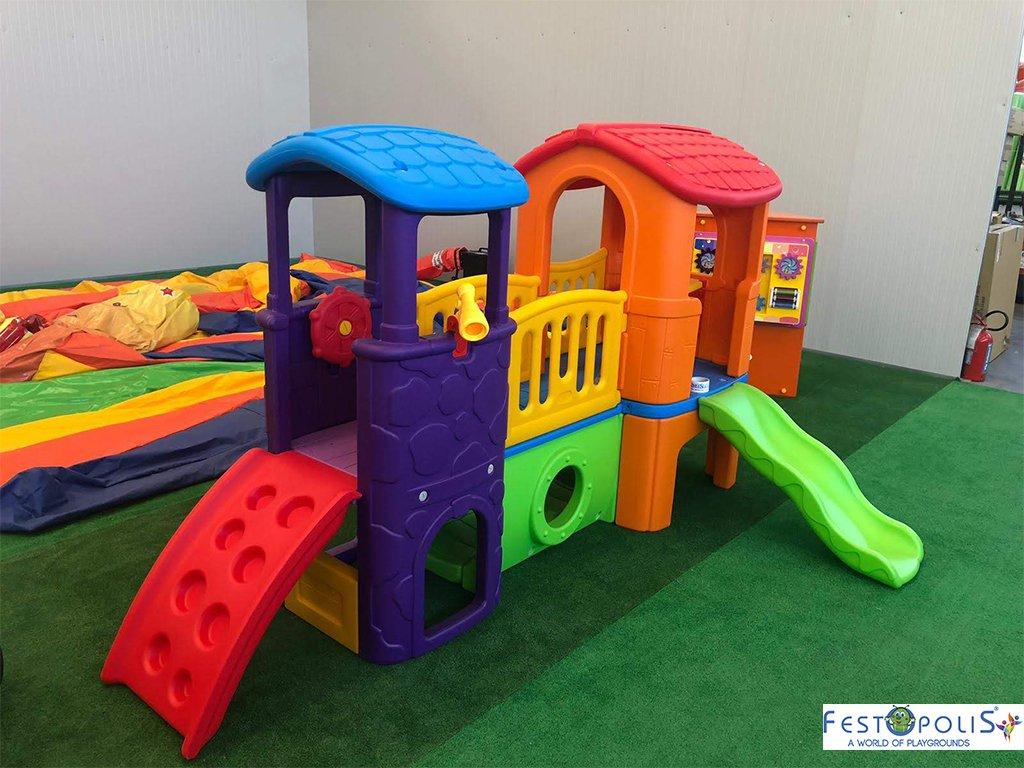 Gioco in plastica playcenter multicolor in polietilene costituito da due torrette collegate da un ponte, scivolo, mini arrampicata, tunnel.-3-FEGP 016B