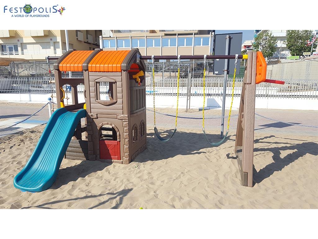 Castello delle altalene - gioco in plastica costituito da uno scivolo e due altalene. Costruito in polietilene con bulloneria in acciaio inox.-4-FEGP 097