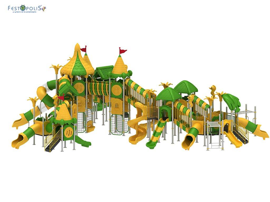 Playground Da Esterno Per Stabilimenti Balneari, Villaggi Turistici, Parchi Gioco e Aree Gioco Esterne. Gioco esterno con colorata grafica natura.-2-FEPE 008