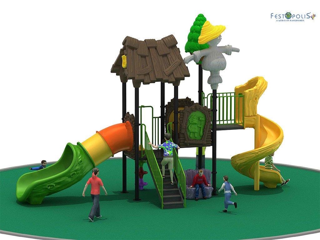 Playground Da Esterno Per Stabilimenti Balneari, Villaggi Turistici, Parchi Gioco e Aree Gioco Esterne. Gioco da esterno con grafica tema foresta.-1-FEPE 14601 B