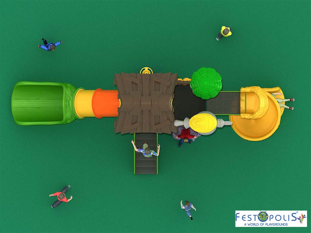 Playground Da Esterno Per Stabilimenti Balneari, Villaggi Turistici, Parchi Gioco e Aree Gioco Esterne. Gioco da esterno con grafica tema foresta.-2-FEPE 14601 B
