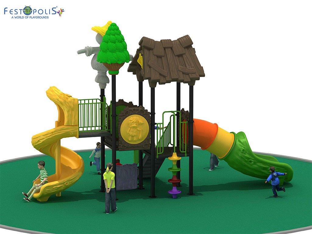 Playground Da Esterno Per Stabilimenti Balneari, Villaggi Turistici, Parchi Gioco e Aree Gioco Esterne. Gioco da esterno con grafica tema foresta.-6-FEPE 14601 B