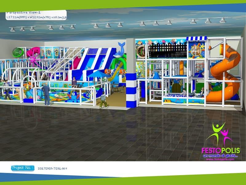 progettazione parco giochi al coperto blu park