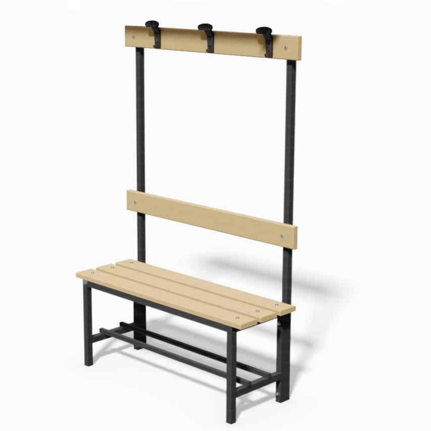 Panca con seduta, schienale e appendiabiti 1mt