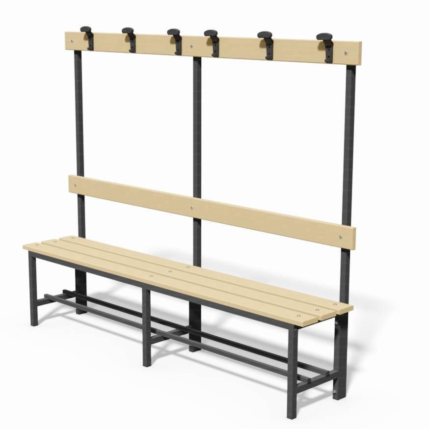 Panca in acciaio con seduta, schienale e appendiabiti